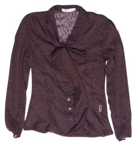 L'affaire Pussy Bow Chiffon Top Brown