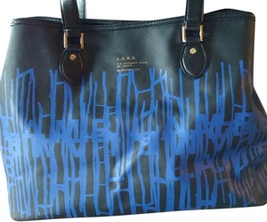 L.A.M.B. Great Graphics Coated Canvas Tote in Black/Blue