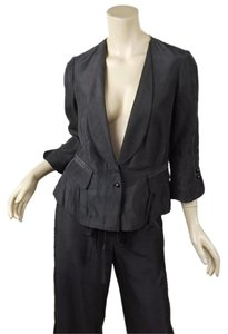 Robert Rodriguez Gray Pleat Hem Shawl Collar Jacket & Wide Leg Pant Suit
