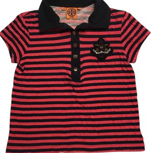 Tory Burch T Shirt Pink and Navy Blue