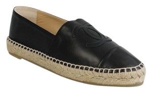 Chanel Espadrilles Leather Espadrilles Size 37 Black Flats