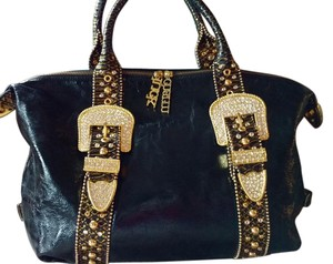 Charm and Luck Piping Rhinestones Shoulder Bag