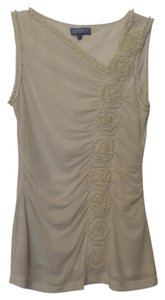 Vivienne Tam Ruched Mesh Sleeveless Medium Top Light taupe