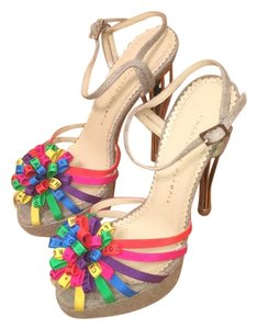 Charlotte Olympia Multicolor bow on tip of shoe Sandals