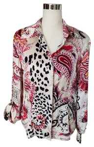 Just Cavalli Silk Print Italian Top White Pink Black