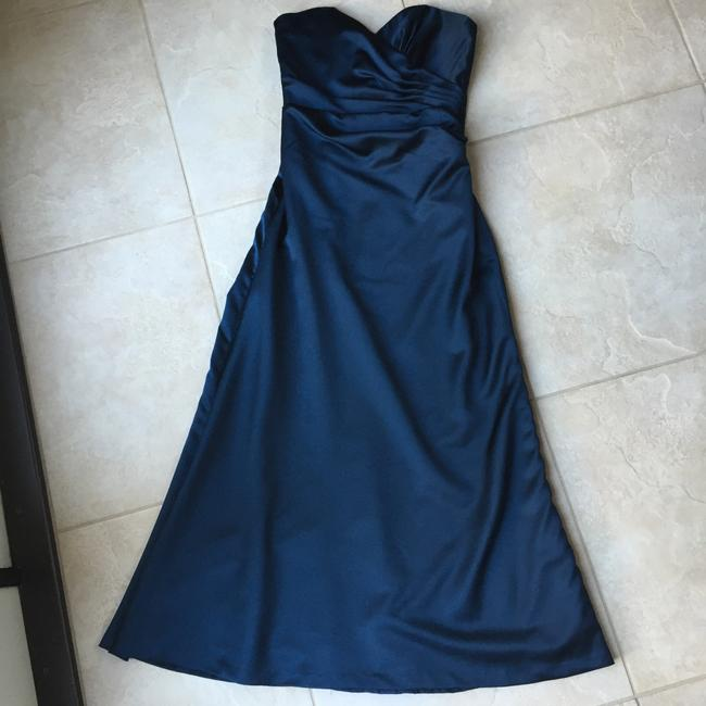 Item - Navy Satin A-line Traditional Bridesmaid/Mob Dress Size 6 (S)