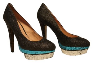 Betsey Johnson Betsy Shoe Black/Turqouise/Silver Glitter Pumps