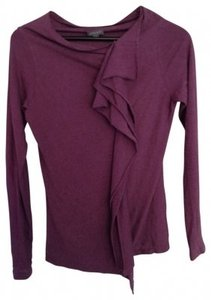 Lilla P Asymmetrical Long Sleeve Pima Jersey T Shirt Plum