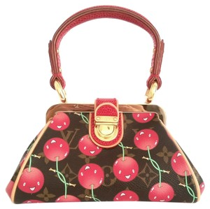Louis Vuitton Lizard Limited Edition Cherry Sac Fermoir Satchel in Brown and red