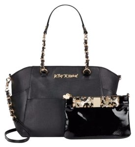 Betsey Johnson Black Bone Red Trim Satchel in Sequined