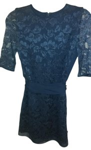 Diane von Furstenberg Dvf Lace Silk Top Dark Blue
