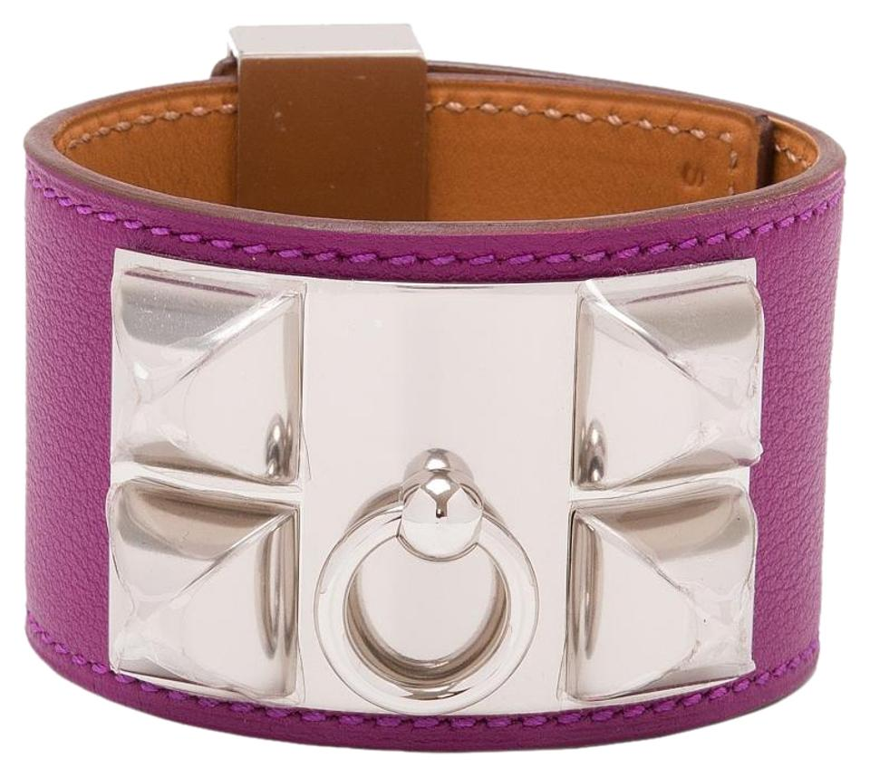 Hermès Purple Anemone Swift Collier De Chien (Cdc) Small Bracelet