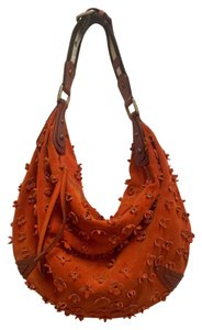 Louis Vuitton 3d Flowers Rare Color Rare Size Suede Hobo Bag
