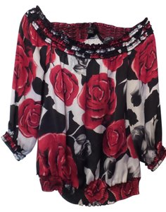 White House | Black Market Gypsy Medium Rose Silky Peasant Top White, black, red