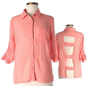 French Connection Cutaway Button Down Shirt Coral