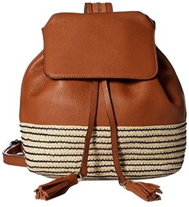 Rebecca Minkoff Leather Basket Weave Straw Brown Ivory New With Tags Backpack