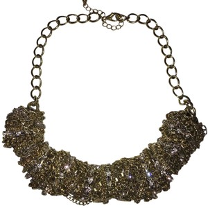 BCBGMAXAZRIA Silver & Gold Chunky Crystal Chain Statement Necklace