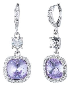 Givenchy Givenchy Silvertone SquareViolet Pave Drop Earrings