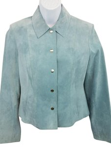 Anne Klein Light Blue Suede Leather Leather Jacket