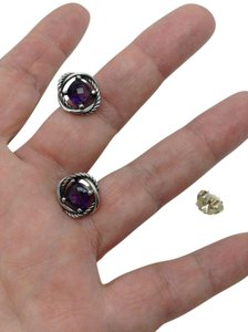 David Yurman sterling silver, 7 x 7mm purple amethyst, infinity stud earrings