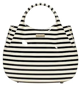 Kate Spade And Stripe Patent Tote in Black White
