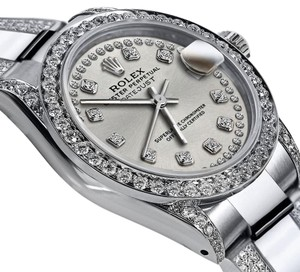 Rolex Women's 31mm S/S Oyster Perpetual Datejust Custom Diamonds Dial Silver