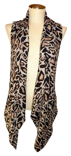 4b1a39583eb41 outlet Alberto Makali Leopard Print Open Front Sleeveless Cardigan Vest S  Small Sweater