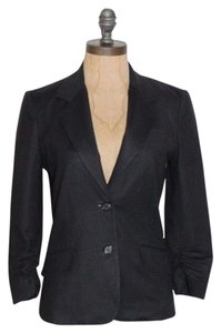 Elizabeth and James Two Buttons 3/4 Sleeves Rushed BLACK Blazer