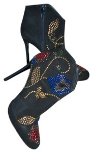 Giancarlo Paoli Stiletto Embellished Suede Black Boots