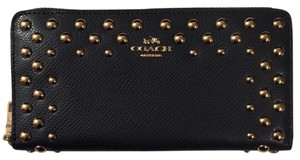 Coach Gold Studded Leather Midnight Clutch