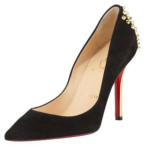 Christian Louboutin Suede Spike Black Pumps