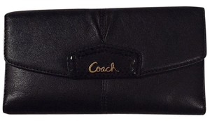 Coach Gold Checkbook Black Clutch