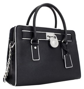 Michael Kors Saffiano Leather Mk Satchel in Black/Silver Tone Hardware