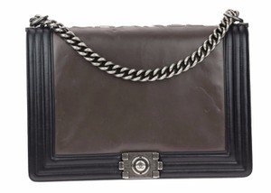 Chanel Le Boy Dark Grey Grey Reverso Shoulder Bag