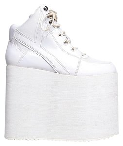 YRU Qozmo Sky Hi Platforms White Athletic
