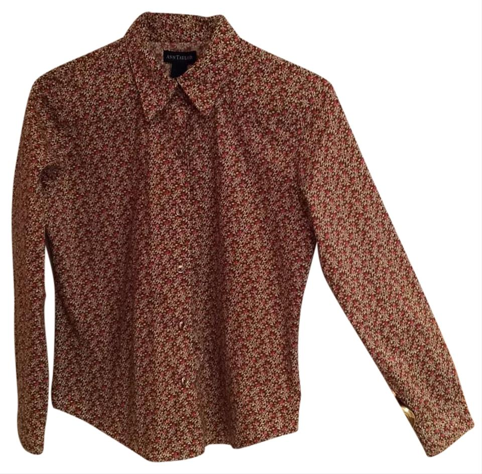 f99a527ab285d6 Ann Taylor Chocolate & Multi Button-down Top Size 4 (S) - Tradesy