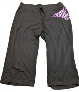 Lucky Brand Capris Black with pink/purple graphic