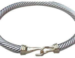 David Yurman David Yurman Cable Buckle / Hook Bracelet In Sterling Silver And 18k Yellow Gold.