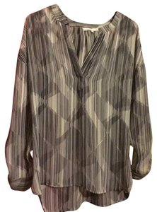 Vince Camuto Chiffon Sheer Hi Lo V-neck Oversized Top Gray, Grey, White, Black