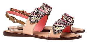 Tory Burch Beaded Jeweled Embroidered Flat Blush Pink Sandals