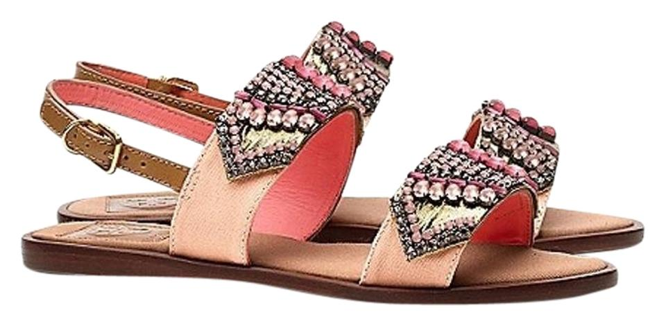 e46de17541 Tory Burch Beaded Jeweled Embroidered Flat Blush Pink Sandals Image 0 ...