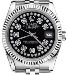 Rolex Women`s Rolex 26mm Datejust Glossy Black String Diamond Accent