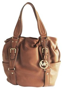 Michael Kors Michael Leather Tote Drawstring Side Pockets Shoulder Bag