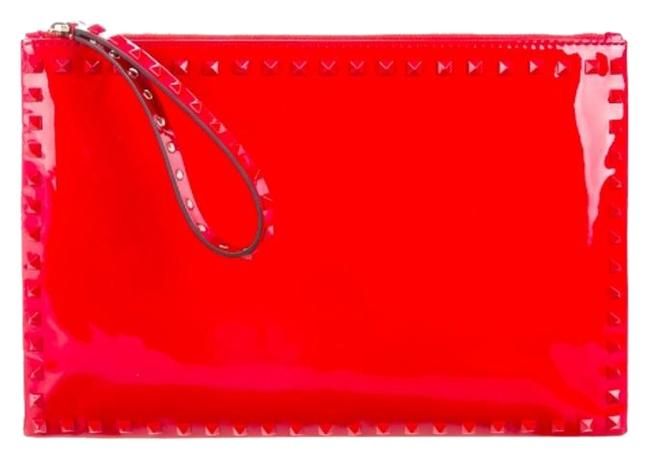 Item - Tags Rockstud Large Oversized Studded Red Patent Leather Clutch
