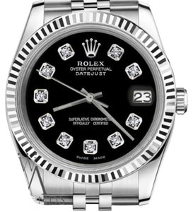 Rolex Men's Rolex 36mm Datejust Black Dial with Diamond Accent Watch