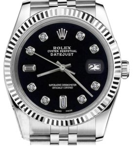 Rolex Men's 36mm Datejust Black Color Dial with 8+2 Diamond Accent Watch