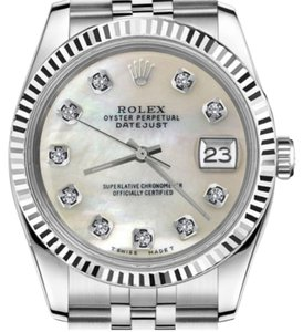 Rolex Men's 36mm Datejust White MOP Mother Of Pearl Diamond Dial Watch