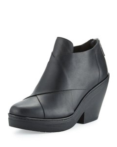 Eileen Fisher Cosmo Ankle Wrap Leather Black Boots