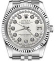 Rolex Women`s 31mm Datejust Silver String Diamond Accent Dial Watch Image 0