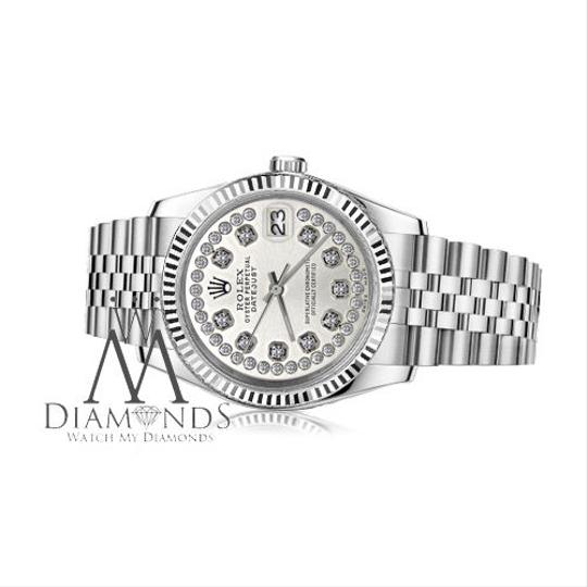 Rolex Women`s 31mm Datejust Silver String Diamond Accent Dial Watch Image 1